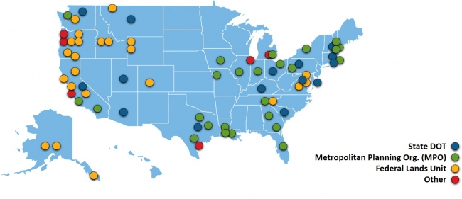 Map showing States and MPOs that are using INVEST.